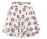 AZIZY Women's Girls Cute Digital Print Stretchy Pleated Tutu Skater Mini Skirt