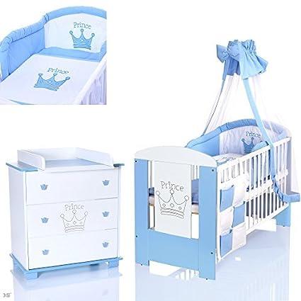 LCP Kids - Completo per camera neonati principe con letto 120x60 + fasciatoio con materassino + set biancheria letto completo 9 pezzi