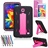 EpicGadget(TM) Black and Pink Durable Heavy Duty Rugged Impact Hybrid Case with Build In Kickstand Protective Case For Samsung Tablet Galaxy Tab 4 7.0 inch With Galaxy Tab 4 SM-T230 Clear Screen Protector And Universal Long Touch Stylus Pen (US Seller!!) (I Stand Black Pink)