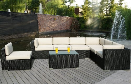 Genuine Ohana Outdoor Patio Sofa Wicker Sectional Furniture 8pc Couch Set with Free Patio Cover