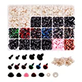 Meafeng 600 Pcs Colorful Plastic Safety Eyes and Noses with washers, for Amigurumi Crafts Doll Plush Animal Teddy Bear Making (Ø 8~14mm) (Color: Multiplecolor)