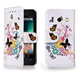 Jellybean White Butterfly Printed Wallet Leather Case For Huawei Ascend Y300