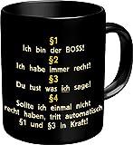Fun Kaffeetasse mit Spruch Ich bin der Boss!