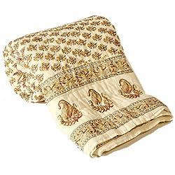 Little India Jaipuri Hand Block Print Cotton Double Bed Quilt - Beige (DLI3DRZ321)