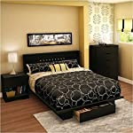 South Shore Trinity Full Queen 4 Piece Bedroom Set in Pure Black