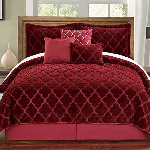 Serenta Faux Fur Ogee Embroidery 7 Piece Bedspread Quilts Set, Queen, Burgundy (Eiderdown Quilt compare prices)