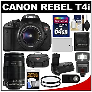 Canon EOS Rebel T4i Digital SLR Camera Body & EF-S 18-55mm IS II Lens with 55-250mm IS Lens + 64GB Card + Case + Flash + Battery + Grip + Filters + Remote Kit