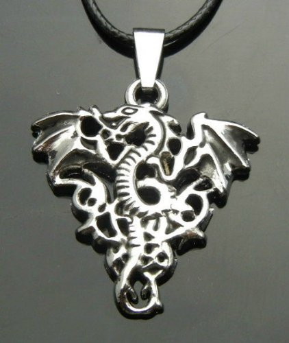 TF779- Silvertone Alloy Western Dragons Pendant String Necklace Punk Biker EMO