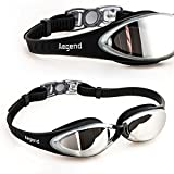 Swim Goggles, Aegend™ Swimming Goggles for Youth/Women/Men with Mirrored Lens, Glare reducing, UV Protection, Anti-shatter, Anti-fog, Anti-leak, Easy-to-Use Environment Friendly Plastic Clasp, Convenient adjustment system, Fit Comfortably Around Eye Sockets, Comes with a Protective Case [Mirrored Coated Lens] (Black)