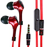 Alpatronix EX120 In-Ear Headphones with Universal Mic/Control for Smartphones (Red)