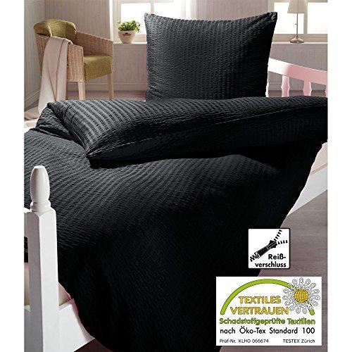 15 99 schwarze seersucker mikrofaser bettwsche mit. Black Bedroom Furniture Sets. Home Design Ideas