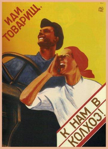vintage-dellunione-sovietica-propaganda-comrades-e-come-seguici-sulla-collective-farm-cartolina-illu