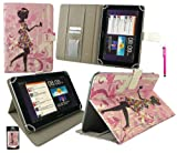 Emartbuy® Hot Pink Stylus + Universal Range ( 8 - 9 Inch ) Flower Girl Multi Angle Executive Folio Wallet Case Cover With Card Slots Suitable for Archos 80 Cobalt 8 Inch Tablet