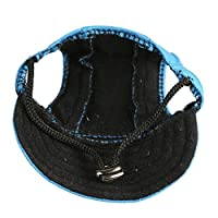 Happy Hours - Dog Hat With Elastic Leather Chin Strap Ear Holes Visor Cap Puppy Pet Baseball Outdoor Sun Hat Oxford Fabric Canvas Sunbonnet 6 Colors 2 Sizes Available (Blue, Size M)