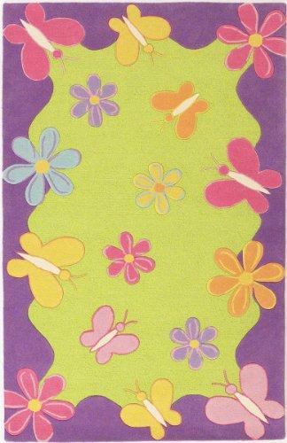 KAS Rugs 0421 Kidding Around Springtime Fun Round Area Rug, 3-Feet, Lime Green/Purple