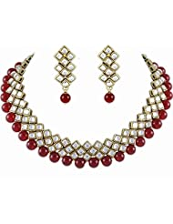 Designer Kundan Choker Traditional Jewellery Set In Red Color For Women By Shining Diva