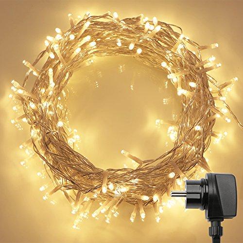 200 LED Catene Luminose Interno con Telecomando e Timer (8 Modalità, Dimemrabile, Bassa Tensione, Bianco Caldo)