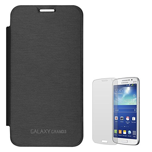 DMG Smooth PU Leather Back Replace Flip Cover Case For Samsung Galaxy Grand Max SM-G7200 (Black) + Matte Screen