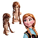 JUJU® Frozen Snow Wig Elsa Anna Children Wig Long Weaving Braid Cosplay Adult Wig + Free Stretchable Net Mesh Fishnet Elastic snood cap (Brown)