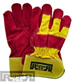 Hymac 1 Pair RiggerPro Rigger Work Gloves Safety Gauntlets Mens Leather Size Large