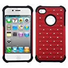 Red Bling Impact Hybrid Rugged Case Apple iPhone 4 4S Rubber Skin Hard Protector Cover Case fits iPhone 4 4S Sprint