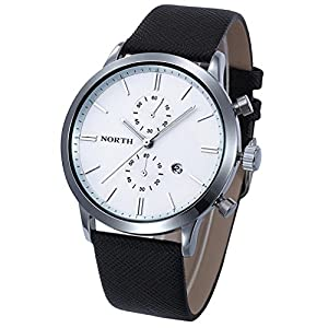 Dreaman 1PC Fashion Men Casual Waterproof Date Leather Watch White