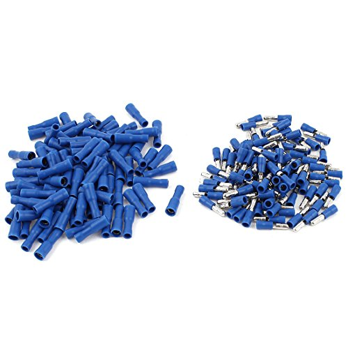 100Pair 22-16AWG Cable Male Female Bullet Crimp Terminals Blue