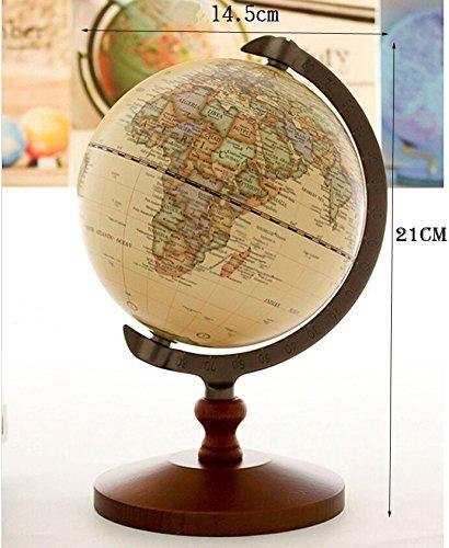 "KiaoTime Vintage World Globe Antique Decorative Desktop Globe Rotating Earth Geography Globe Wooden Base Educational Globe Wedding GIFT 8.25""x 5.75"" 5"