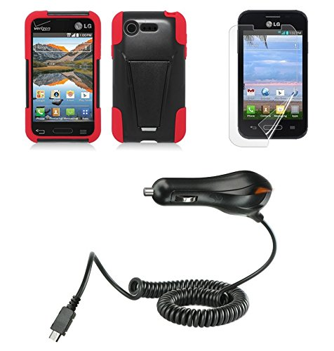 Lg Optimus Fuel / L34C (Straight Talk, Tracfone, Net 10) - Black/Red Dual Layer Impact Defender Shockproof Armor Kickstand Cover Case + Atom Led Keychain Light + Screen Protector + Micro Usb Car Charger
