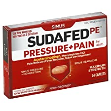 Sudafed Pressure + Pain, for Adults, Maximum Strength, Caplets 24 caplets
