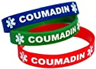 3-pack of Adult Size (8 Inch) Coumadin Medical Alert Silicone Bands Bracelets