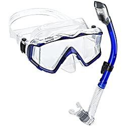 Phantom Aquatics Panoramic Scuba Snorkeling Dive Mask Snorkel Combo, Blue