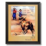 Cowboy Rodeo Clown Western Home Decor Wall Picture Black Framed Art Print