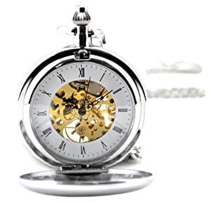 Creddeal Silvertone Brass Skeleton Pocket Watch Mechanical Hand Wind Roman