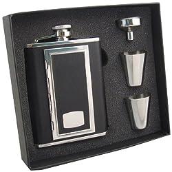 Visol SP Black Leather Cigarette Case Flask Gift Set, 6-Ounce, Black