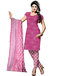 Mann Exclusive Women's Cotton Unstitched Dress Material (Rosy_001_Pink)