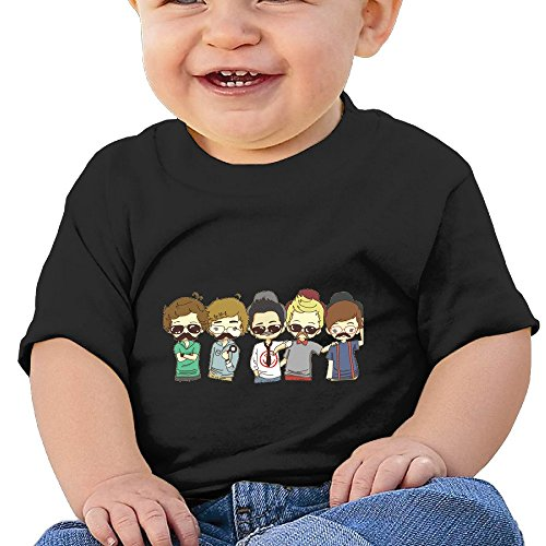 Bro-Custom Cartoon Dashing Boys Image Toddler Cartoon T-shirt Black Size 12 Months