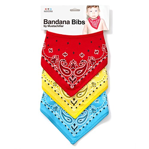 Red/Blue/Yellow Bandana Bibs by Mustachifier