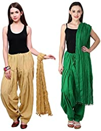 Fashion Store Combo Of Beige :: Pak Green 2 Best Indian Pure Cotton Readymade Punjabi Solid Patiala Salwar Matching...