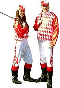 Jockey Silks Red and White Costume (Standard (42-48)
