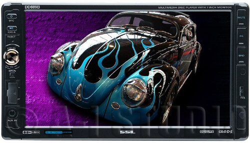 SSL DD889B In-Dash Double-Din 7-inch Motorized Detachable Touchscreen DVD/CD/USB/SD/MP4/MP3 Player Receiver Bluetooth Streaming Bluetooth Hands-free with Remote