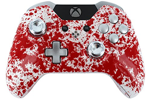 """Blood Splatter"" Xbox One Custom Modded Controller With Silver Painted Buttons, Triggers And Chrome Thumbsticks"