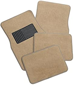 Rubber Queen 70543 Carpeted 4 Piece Mat With Vinyl Heel Pad Beige