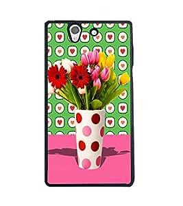 Fuson 2D Printed Flower Designer back case cover for Sony Xperia Z - D4457