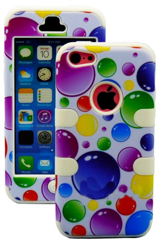 Mylife (Tm) White + Colorful Bubbles 3 Layer (Hybrid Flex Gel) Grip Case For New Apple Iphone 5C Touch Phone (External 2 Piece Full Body Defender Armor Rubberized Shell + Internal Gel Fit Silicone Flex Protector + Lifetime Waranty + Sealed Inside Mylife A