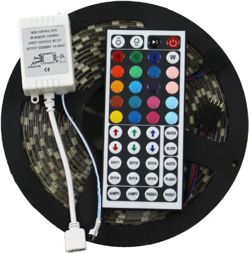 Mstar 5050-Rgb-Led-Strip 16.4Ft Smd Water-Resistant 300Leds Rgb Flexible Led Strip Light Lamp Kit Plus 44 Key Ir Remote Controller For Wedding Christmas Party Holiday