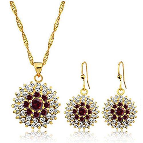 rosso Collana di cristallo Cubic Zirconia Edelweiss pendente del girasole e orecchini insieme dei monili, il miglior regalo per la madre moglie nonna donne
