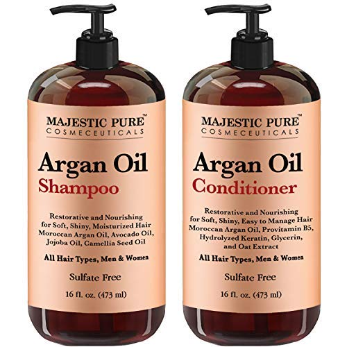 Argan Oil Shampoo and Conditioner, from Majestic Pure, Improve formula Sulfate Free, Vitamin Enriched, Volumizing & Gentle Hair Restoration Formula for Daily Use, for Men and Women, 16 fl oz Each