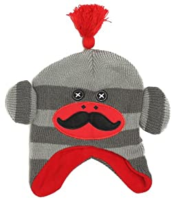 ABG Critter Monkey Socks Scandinavian Beanie Hat, Boys 3+