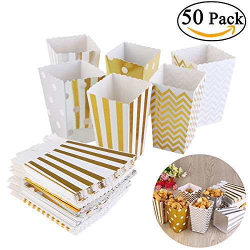 NUOLUX 50pcs Popcorn Boxes,Cardboard Candy Container,Gold and Silver,12x7.5CM (Popcorn Cardboard compare prices)